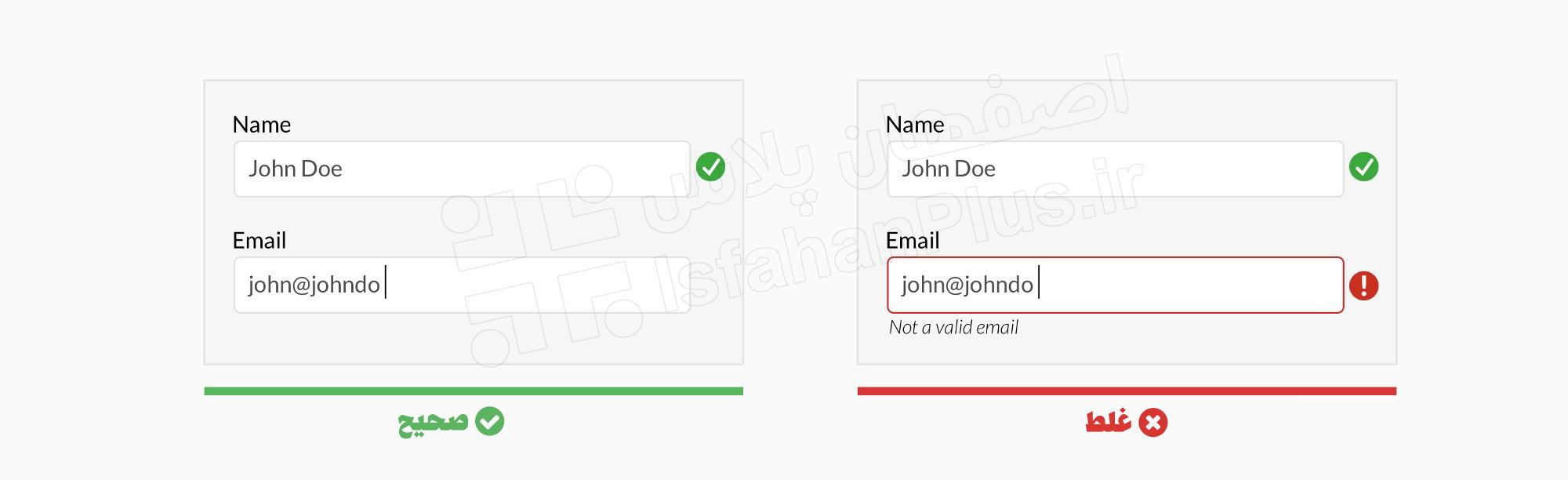 استفاده از اعتبارسنجی inline پس از اینکه کاربر فیلد را پر می کند (مگر اینکه در طی فرایند به آنها کمک کند)